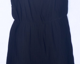 Black pleated, cinched-waist, lined dress with lace, US women's S