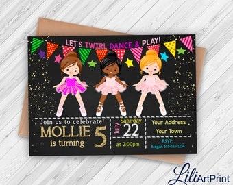 Ballerina invitation, ballerina birthday invitation, Ballerina invite, ballet birthday party, Digital file 14