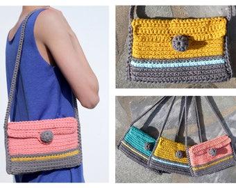Clio Bag, cross body bag, crochet bag, woman bag, handmade, recycled textile