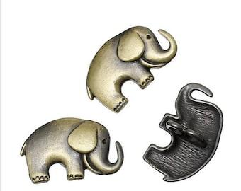 5 Elephant Buttons Bronze Metal Shanked 25 X 3.3 mm Sewing Craft Cardmaking UK SELLER Knitting Crochet