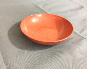 """Vintage Retro Dark Orange Soup or Salad Bowl by Watertown Lifetime Wear 7"""" Diameter"""