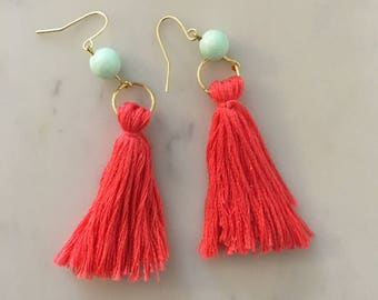 Coral Short fringe with Blue Bead