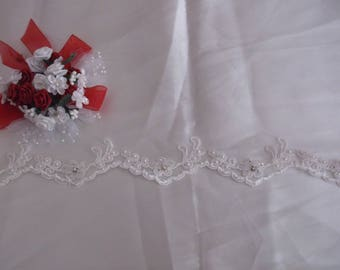 Ivory Silver/Rhinestone Beaded Corded Lace