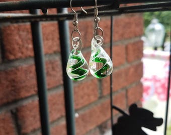 Green Glass Drop Earrings