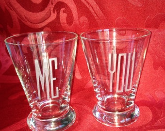 Couple glass set - non gendered. Cute gift for a new relationship.