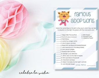 Instant Download Famous Adoptions. Adoption Baby Shower Game. Printable Baby Boy Shower Game. Blue