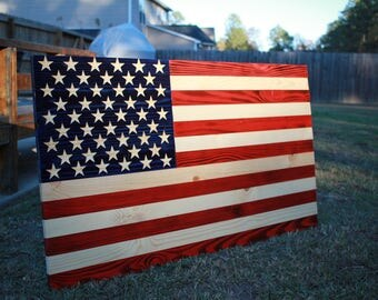 3FT Torched Stained American Flag