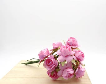 Pink Paper Roses. Mini Paper Flowers. Pink Flowers. Flower Bouquet.