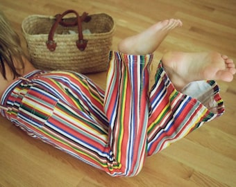 Vintage 90s Flared Rainbow Striped Jeans