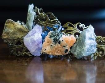 Rough Stone Rings- Healing Crystal- Crystal Healing- Boho/ Indie Style- Fun Gifts- Wearable Art- Rough Stones- Vintage Inspired-Amethyst