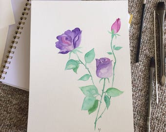 Watercolor Roses 9x12, hand-painted