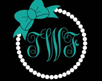 Pearl and Bow Vinyl Decal Monogram