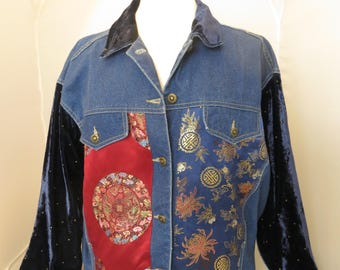 Vintage Denim Jacket with Asian Fabric Patches Women's Size 10
