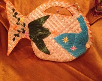 Esprit straw woven fish bag/purse with embroidery. Raffia. Flowers.