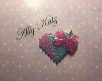 8bit Pink and Blue heart with Pink Bow