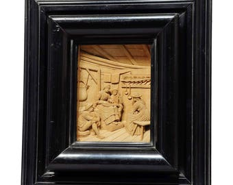 fine carved wood diorama after franz defregger by steiner meran