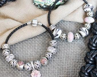Pandora bracelet. Pandora bracelet style. Flower.