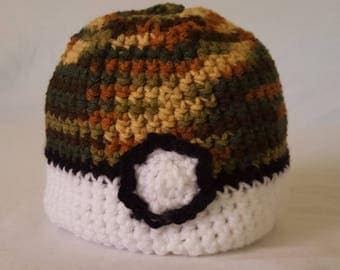 Crochet Pokemon Safariball Baby Hat - 8 sizes