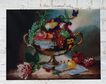 Beadwork Copmleted / Finished. Handmade embroidery. Vase with fruit