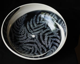 Large hand thrown porcelain bowl with black sgraffito fern design.  Made in Hawaii.