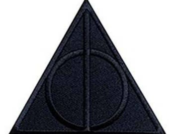 Harry Potter Black Deathly Hallows Sew On or Iron On 3 Inch Application Applique Patch- FREE DOMESTIC SHIPPING