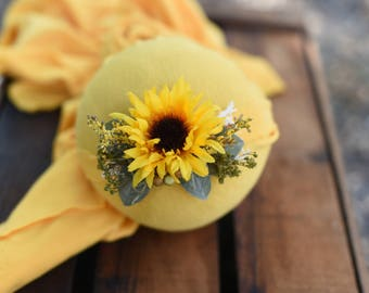 Yellow Sunflower Newborn Tieback; photography prop; newborn tieback; sitter tieback