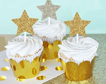 Pink and gold Glitter Star Cupcake Toppers • Birthday • Baby Shower • Wedding • Engagement • Food Pick