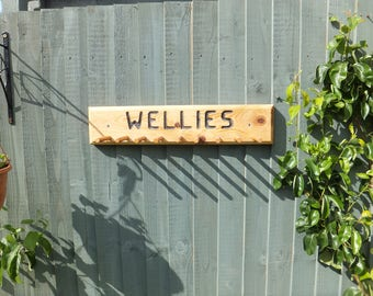 Wellie Wellington Boot Rack Solid Wood Handmade Can Also Be Used To Hang Garden Tools or Combination of both