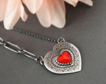 Crystal Heart Necklace/Silver Heart Necklace/Crystal Heart Necklace/Silver Crystal Necklace/Pure Romance Swarovski Red Crystal Heart Pendant