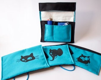 Tobacco pouch blue black, screen printing. Motifs