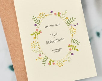 Printable Romantic Floral Save the Date, Garden Wedding Invitation, Floral Wedding, Flowers Wedding, Save the Date