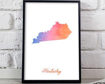 Kentucky poster Kentucky print Kentucky art Watercolor US State poster wall art Gift poster Kentucky wall decor print