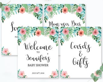 Floral Baby Shower Signs Bundles Party Sign Printables Boho Instant Download Birthday Sign Welcome to Sign Baby Shower Mom-osa Bar Sign FG1