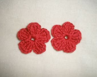 lot de six fleurs au crochet  applique