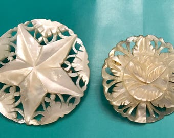 Vintage Lot of Two Handcarved Mother of Pearl Brooches