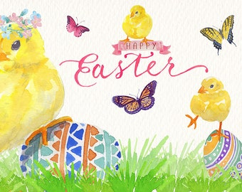Watercolor Easter chick png clipart set Images of watercolor Ideal printable posters poster cards stickers Congratulations and more