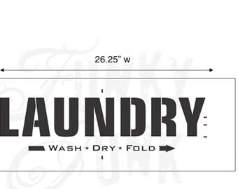 Funky Junk Stencil - Laundry - Furniture or Wall Stencil