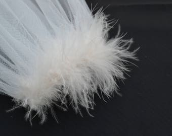 Tulle veil with marabou heading