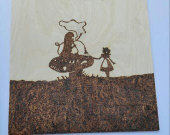 Pyrography Handcrafted Wood Burned Wood Burning Sign/Plaque Alice in Wonderland Caterpillar Absolem