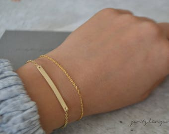 Gold filled bracelet with bar-plate