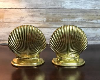 """Pair of Windcurrent Collection Solid Brass Seashell Shell 5"""" Tall Bookends 1990"""