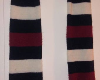Navy Blue Cranberry and Cream Striped Vintage Leg Warmers