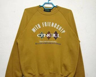 Vintage ONEILL Big Logo Surf Wear And Surfboard Sweater Sweatshirt