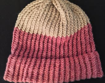 Soft Pink and White Knit Hat