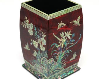 Mother of Pearl Inlay Square Desktop Pen Pencil Vase Brush Wooden Cup Case Box Holder