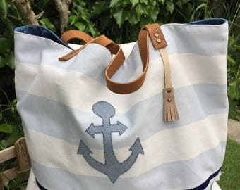 Sailor blue and white tote bag