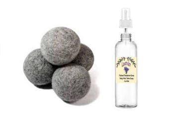 Pure Grey Wool Dryer Balls 3 Pack With Spray