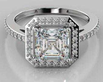 Halo Style Engagement Ring 14K White Gold