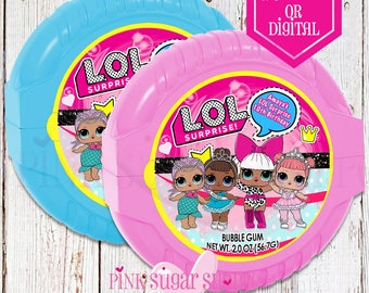 Lol Surprise Dolls Bubblegum Tape - Stickers Labels - Lol Dolls Birthday - Lol Suprise Party -  Digital - Stickers - Printed - Bubble Gum