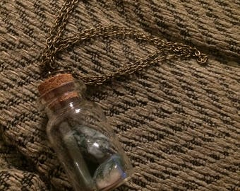 Green Grass Agate Bottle Necklace